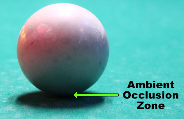 ball showing the ambient occlusion zone