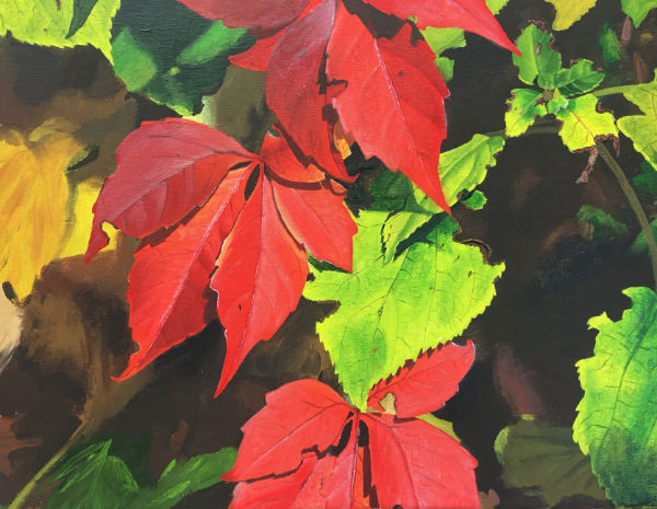 complementary colour autumn leaves painting