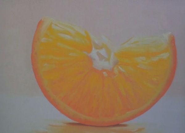slice of orange painting before