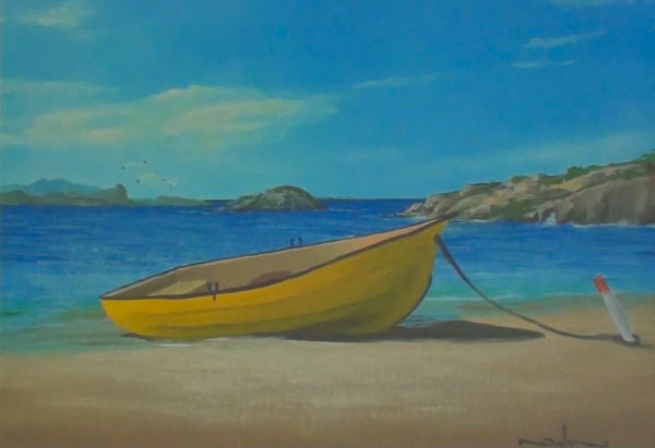 boat on beach painting
