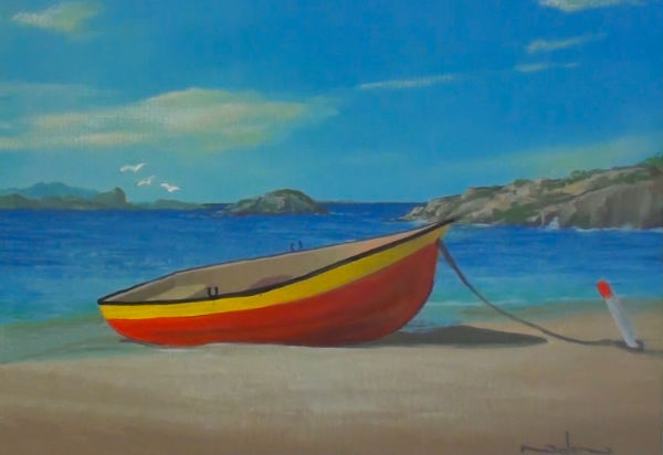 boat on beach painting with complementary colours added