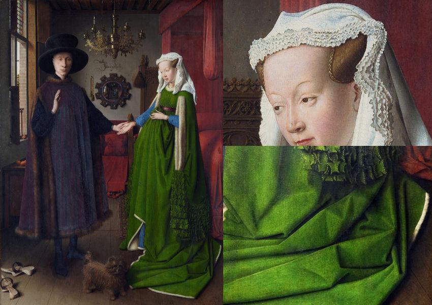 Jan van Eyck painting showing reflected light