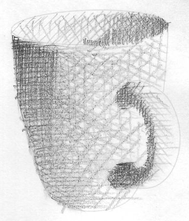 cross-hatched coffee mug without cross contour lines