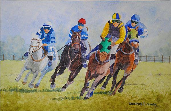 illusion of horses racing