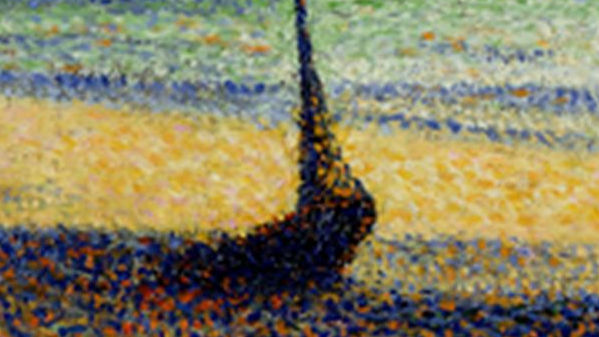 close up of the pointillism technique