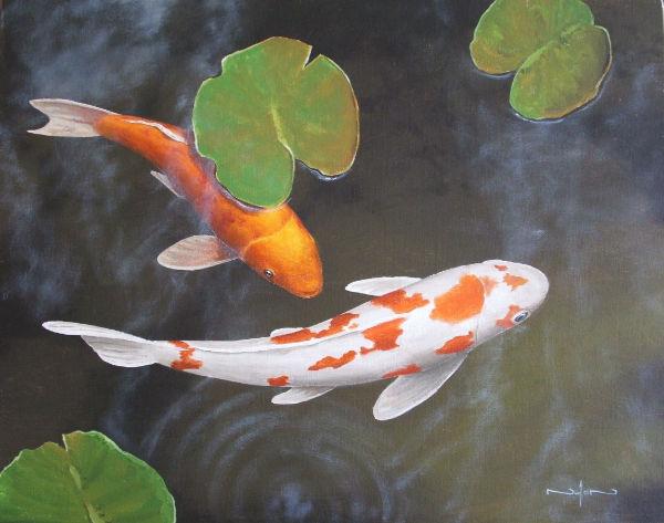 nolan clark koi painting showing reflected light on fins
