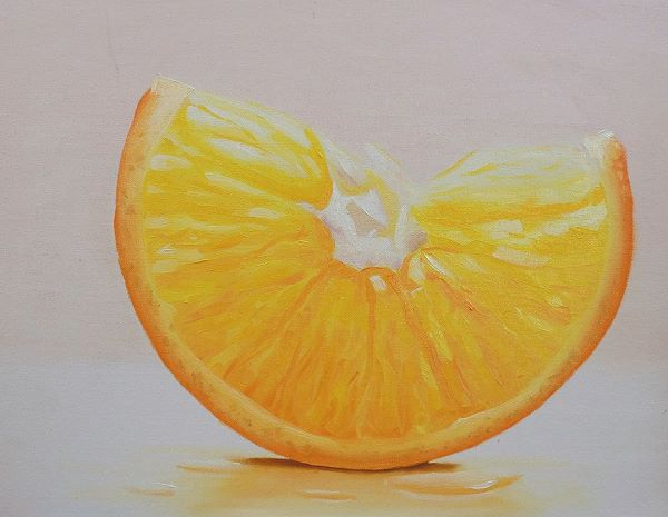 Painting of an orange with irregular pattern