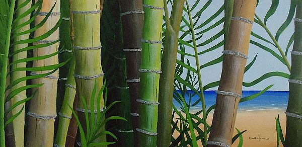 Painting of bamboo with irregular pattern