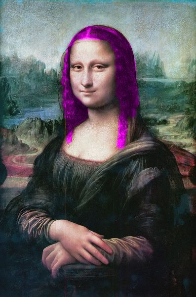 Mona Lisa with purple hair to break the pattern