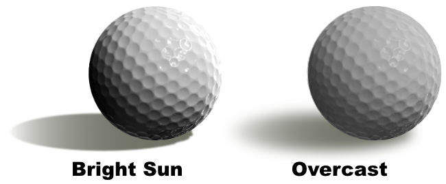 golf balls showing difference between bright & overcast light