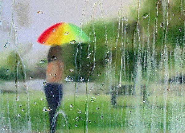 rain drops on window create illusion of movement outside