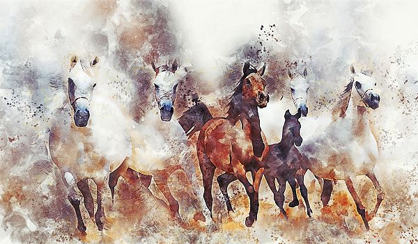 motion blur applied to a painting of horses to indicate movement
