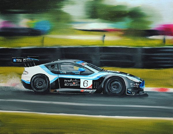painting of racing car with background in motion blur to indcate movement