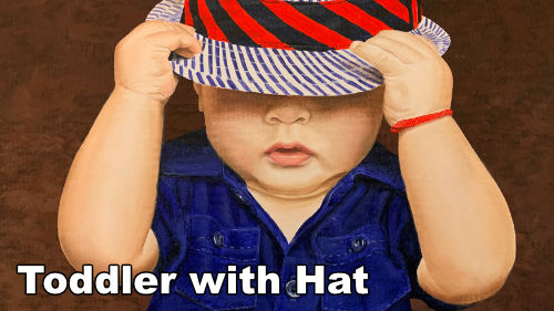 How to paint a toddler with a hat