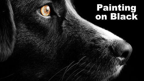 how to paint a dog on black canvas