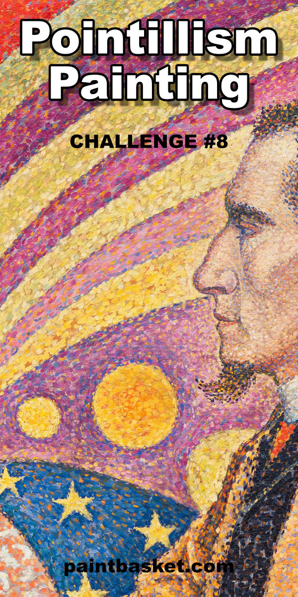 Learn what pointillism is and how you can paint in a pointillist style. art classes, art basics, art challenge, nolan clark, paint basket, online art lessons